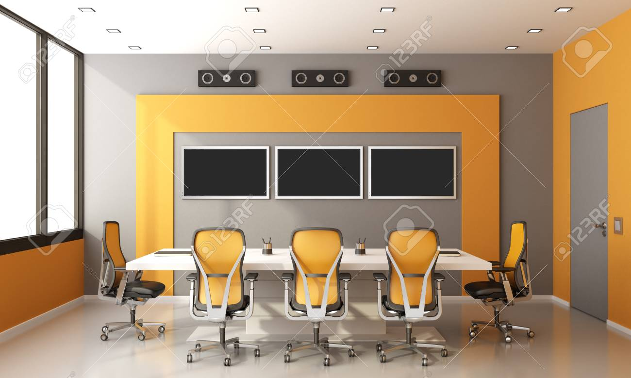 Orange Office Chairs Gray And Orange Modern Boardroom With Meeting Table Office Chairs