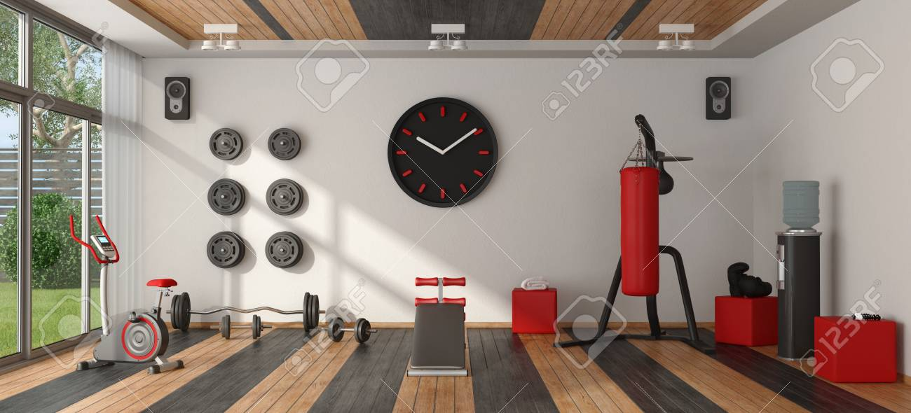 home gym with punching