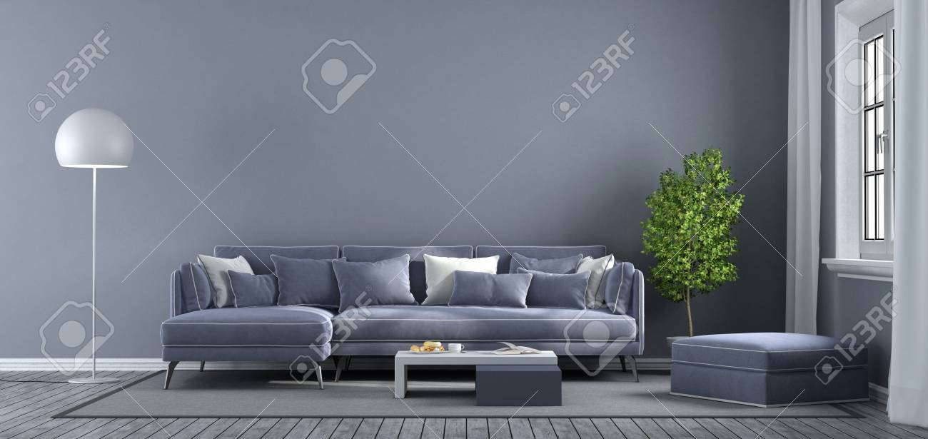 living room footstool modern chairs canada purple with sofa and window 3d rendering stock photo