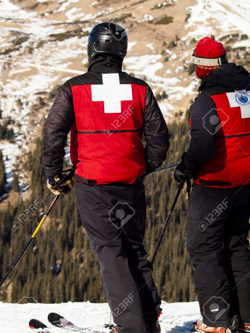 ski patrol in red