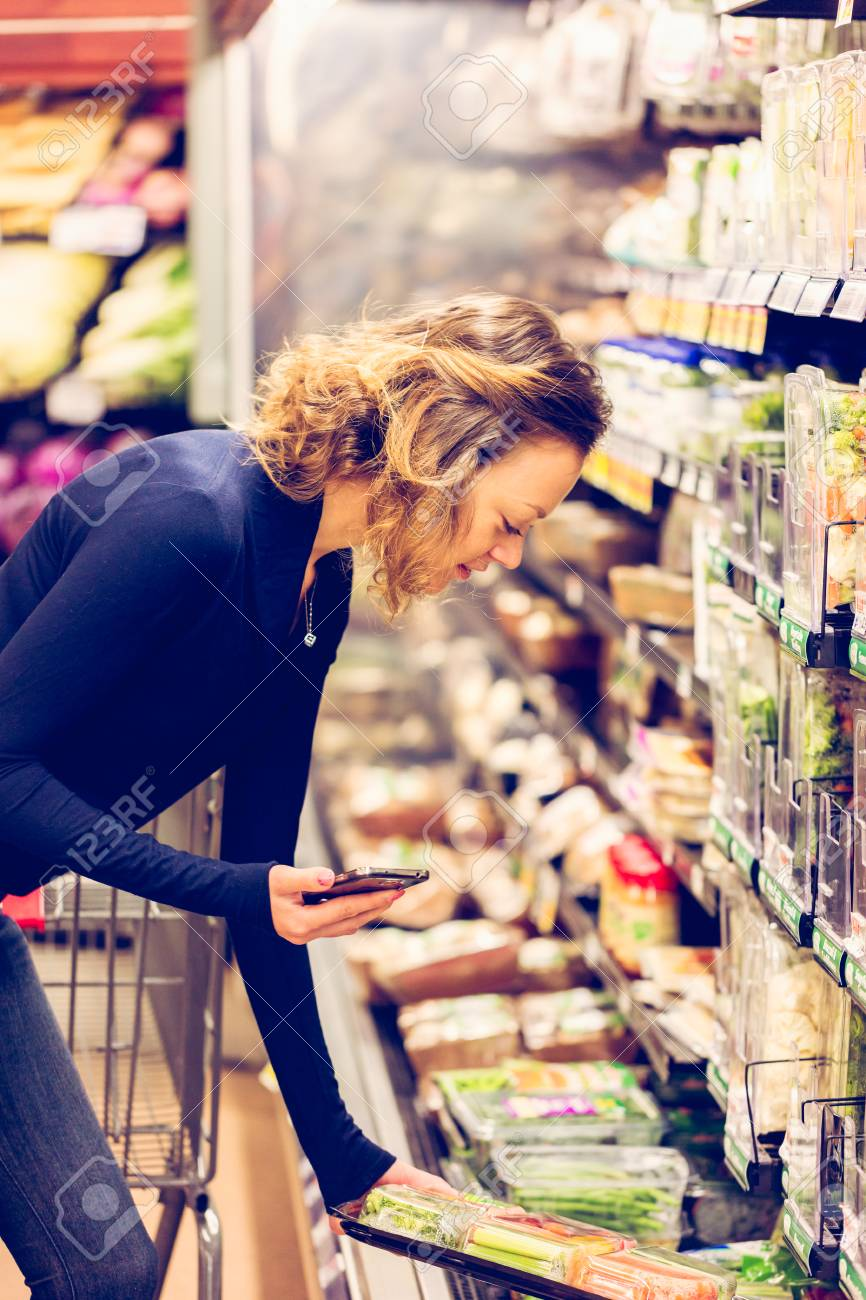 young woman shopping in