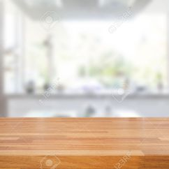 Wood Table Kitchen Rug For Under Empty Wooden And Blurred Background Product Montage Display Stock Photo 54242802