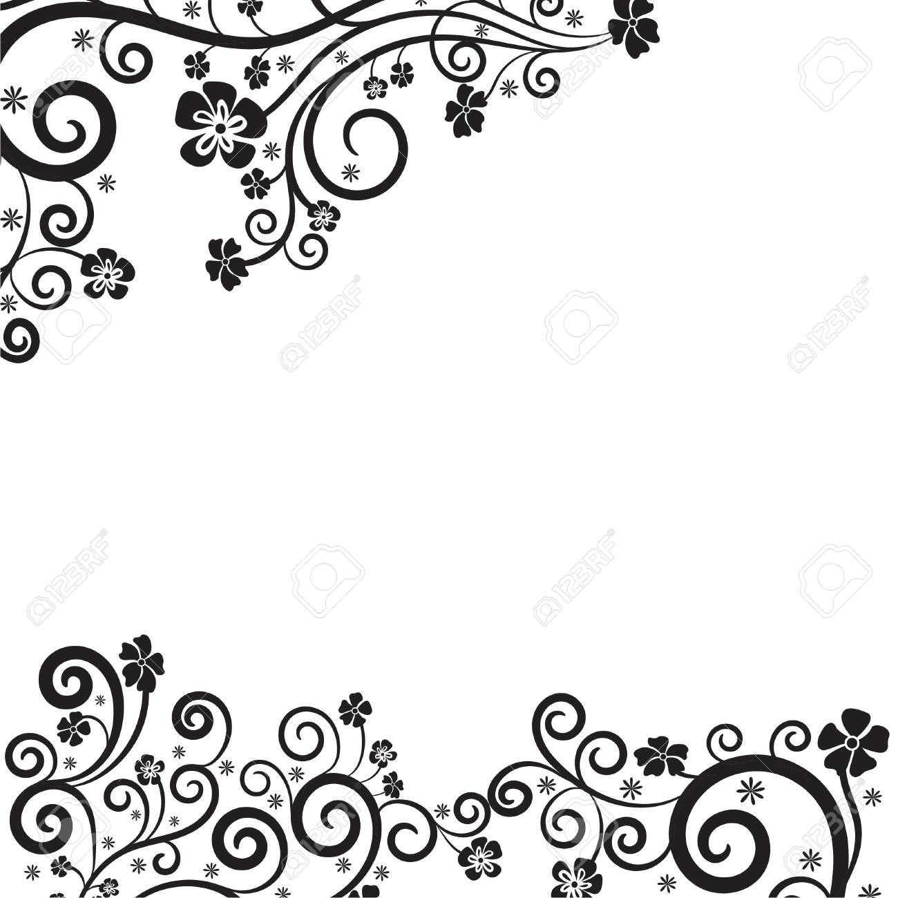 vintage floral decorative background with calligraphic swirls