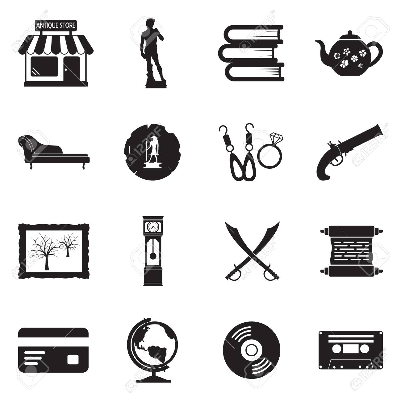 antique store icons black