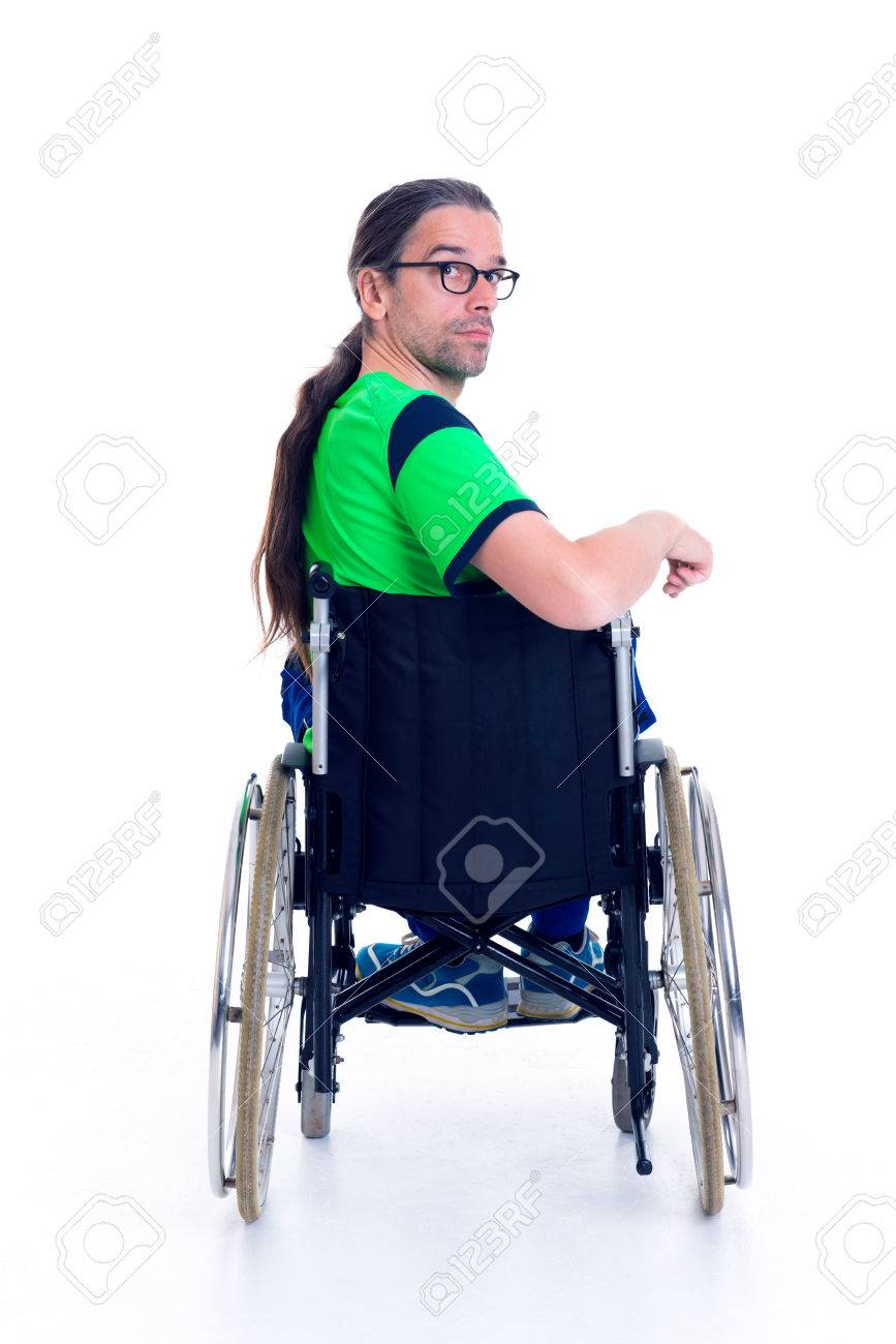 wheelchair man stack chairs for less young with glasses in a front of white background stock photo from the back