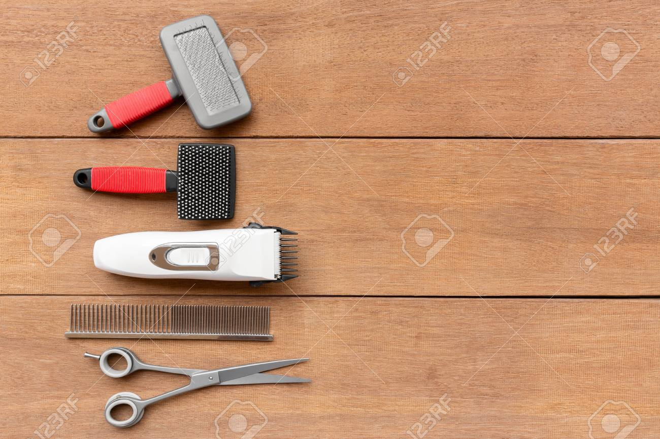 Top View Of Dog Grooming Tools And Accessories Set On Wooden Stock Photo Picture And Royalty Free Image Image 107031647