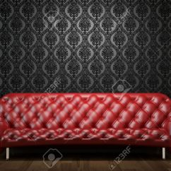 Black And Red Leather Sofa French Connection Ebay Interior Design Scene Of Couch On Wall Illuminated From Abobe By Spotlight Stock