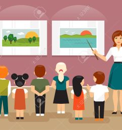 vector young children and the teacher on a field trip to an art museum looking at pictures [ 1300 x 1081 Pixel ]