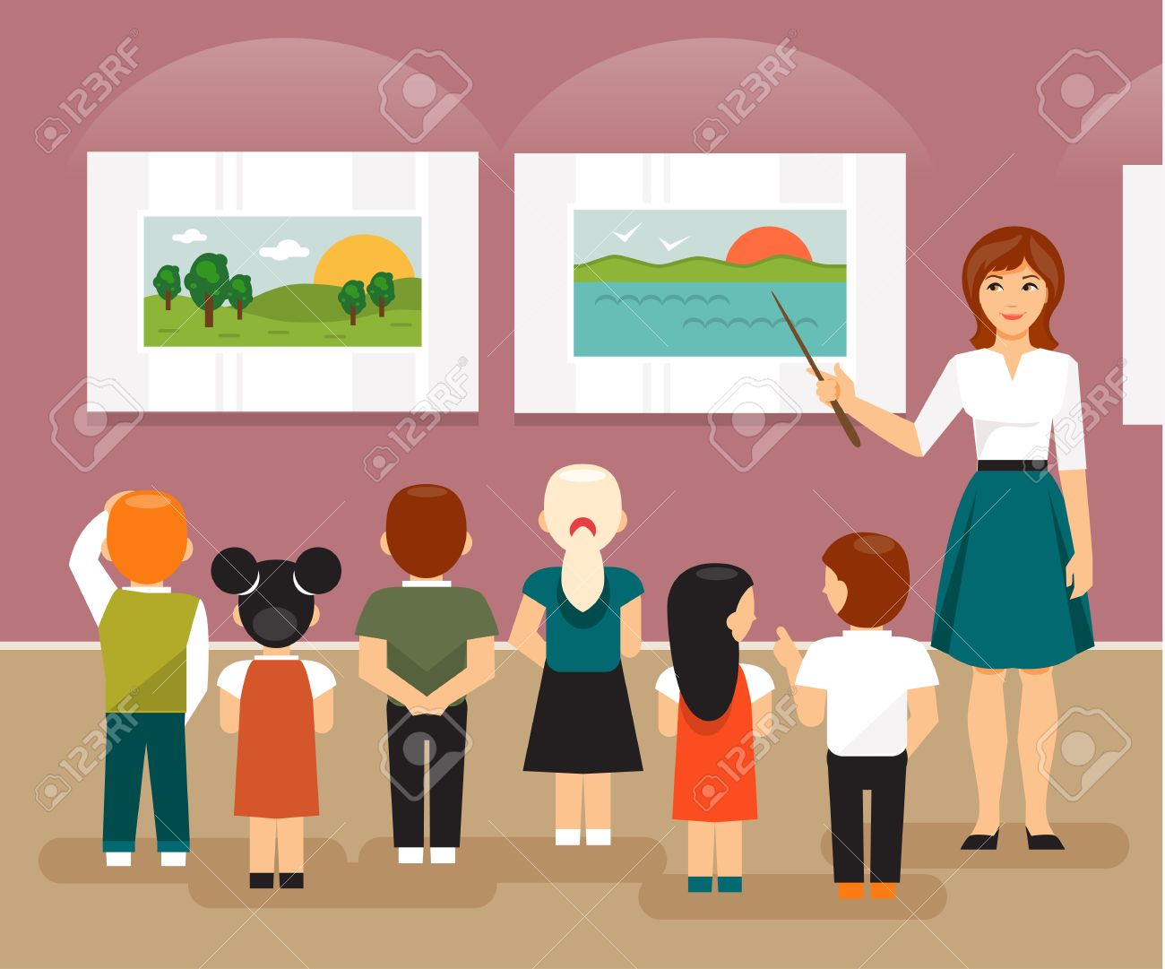 hight resolution of vector young children and the teacher on a field trip to an art museum looking at pictures