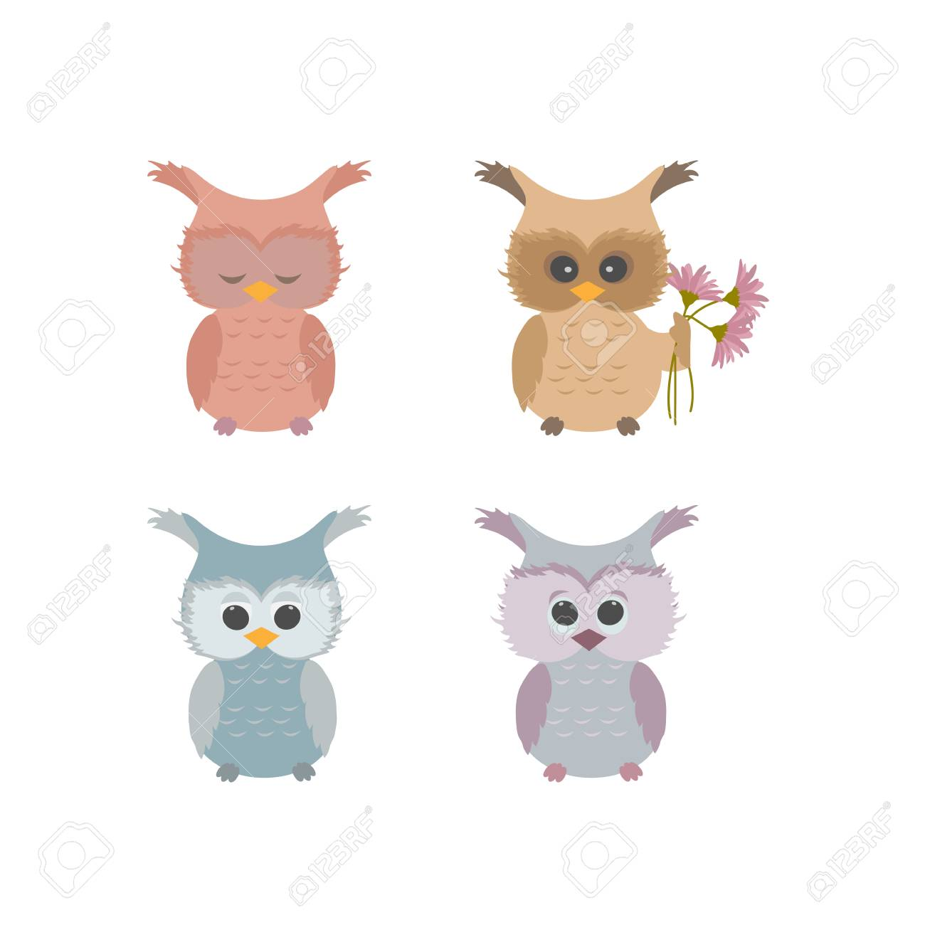 Cute Owl Decor Vector Illustration Of A Set Of Baby Cute Owls On White Isolated