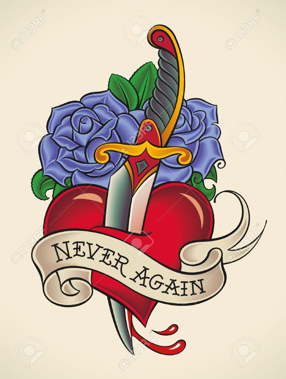 Tatuaje De Estilo De La Vieja Escuela De Un Puñal En El Corazón Con