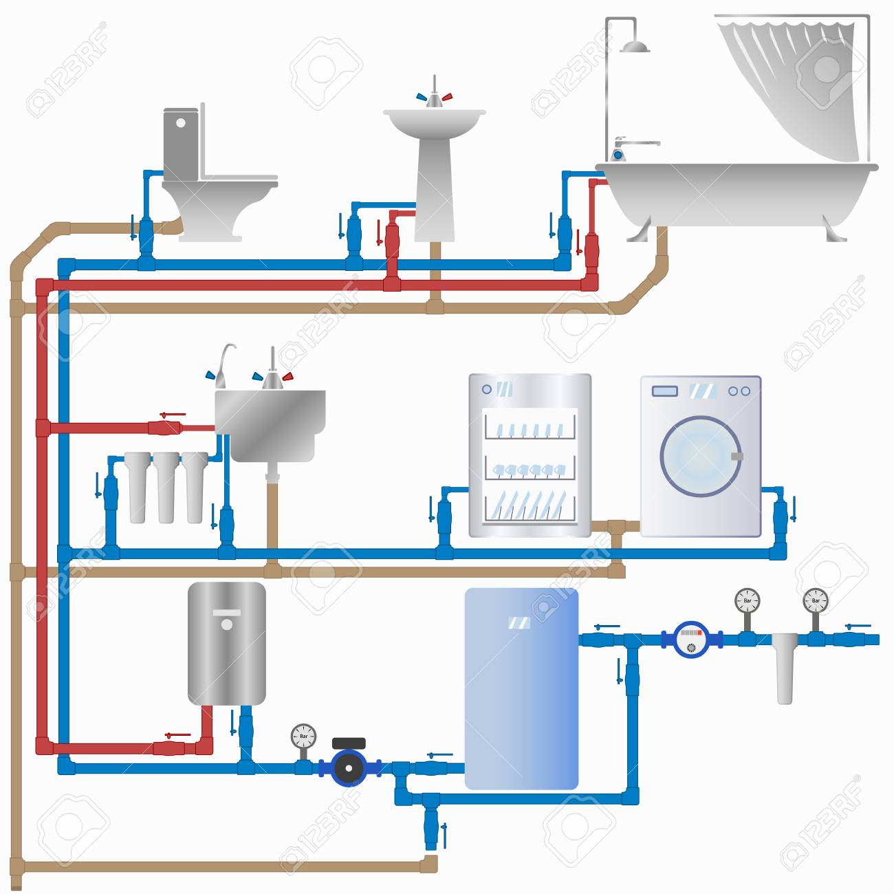 hight resolution of vector vector image of the water supply and sewerage system in the house