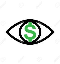 eye with dollar icon greed sign profit or need money symbol isolated stock vector [ 1300 x 1300 Pixel ]