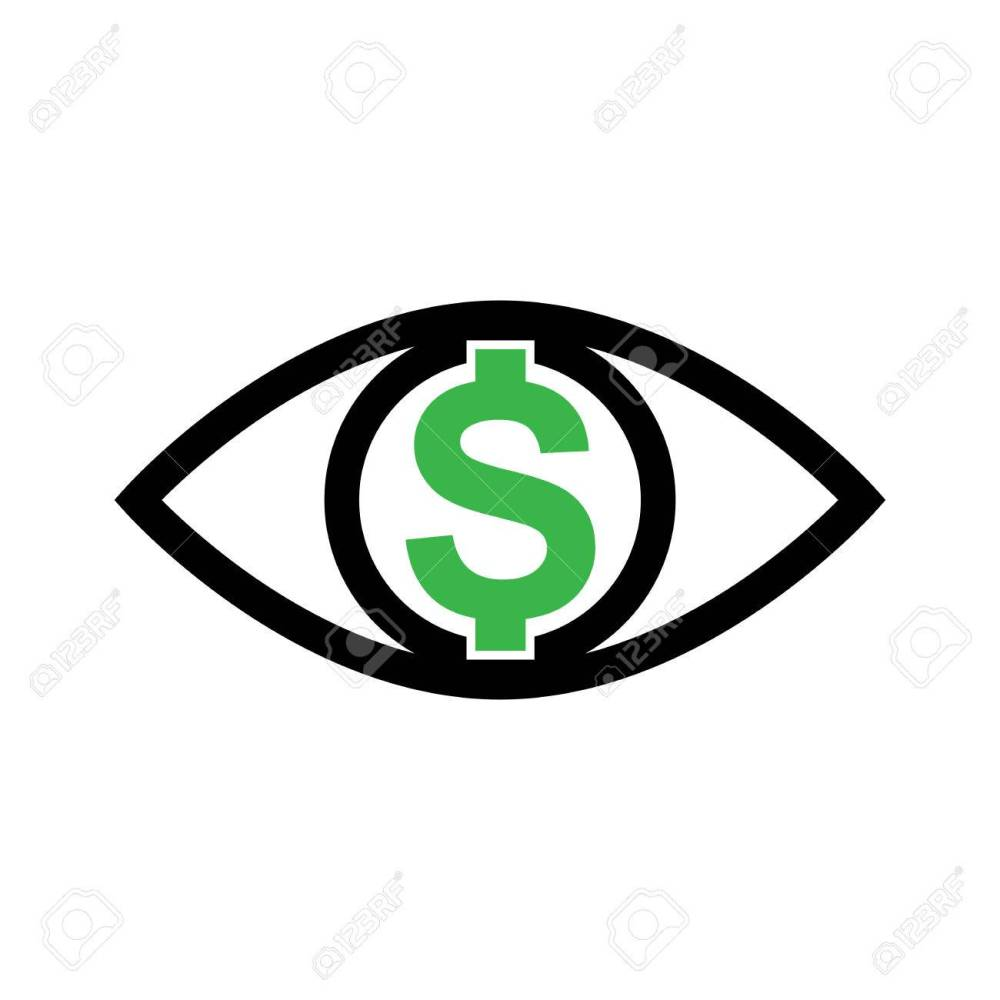 medium resolution of eye with dollar icon greed sign profit or need money symbol isolated stock vector