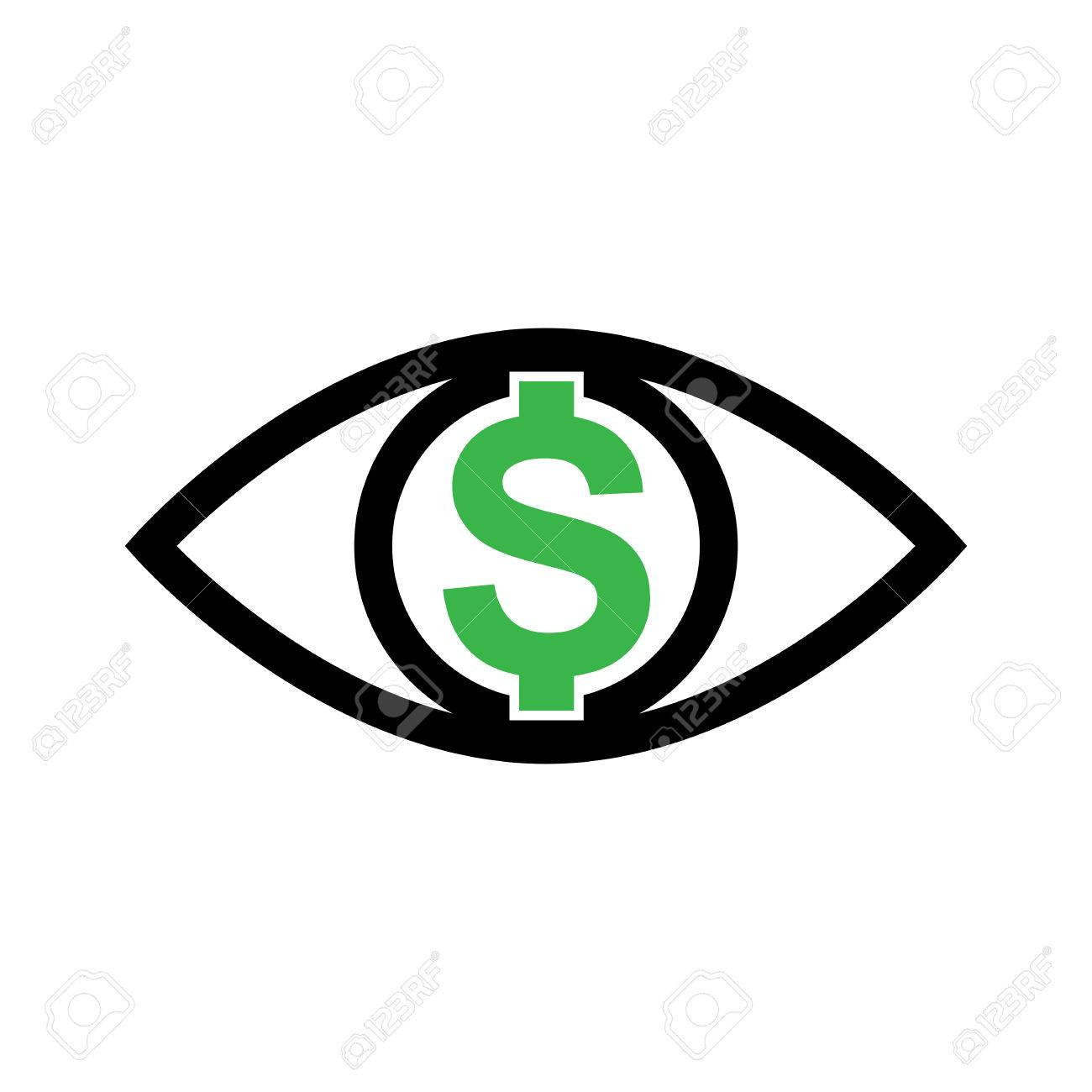 hight resolution of eye with dollar icon greed sign profit or need money symbol isolated stock vector