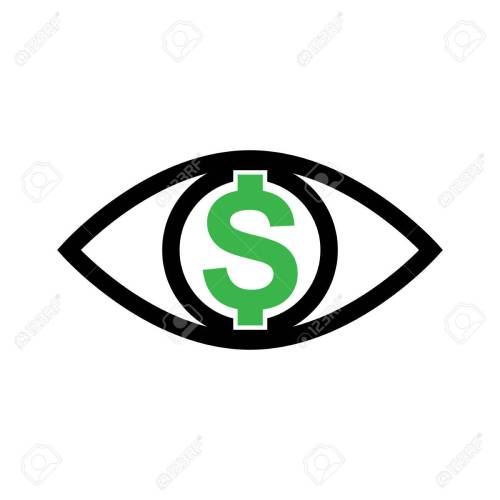 small resolution of eye with dollar icon greed sign profit or need money symbol isolated stock vector