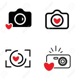 digital camera and heart icons isolated snapshot photography sign or logo instant photo concept [ 1300 x 1300 Pixel ]
