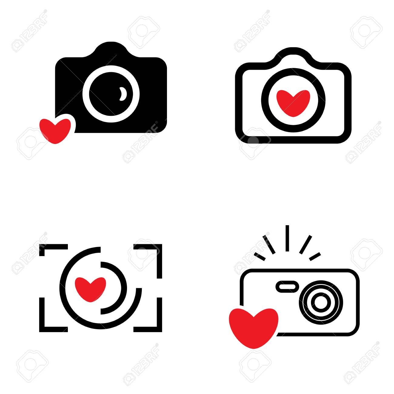 hight resolution of digital camera and heart icons isolated snapshot photography sign or logo instant photo concept