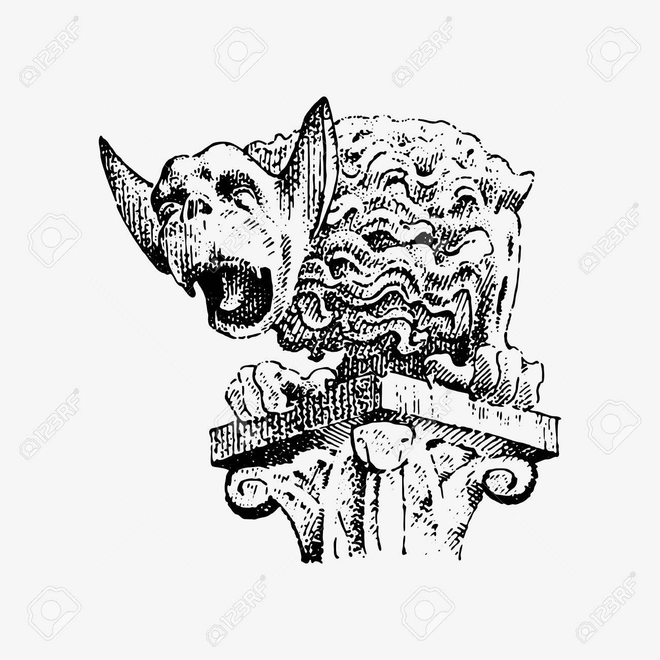 hight resolution of gargoyle chimera of notre dame de paris engraved hand drawn vector illustration with