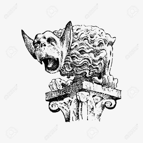 small resolution of gargoyle chimera of notre dame de paris engraved hand drawn vector illustration with