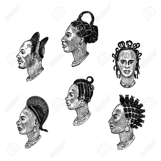 african national male hairstyles. profile of a man with curly..