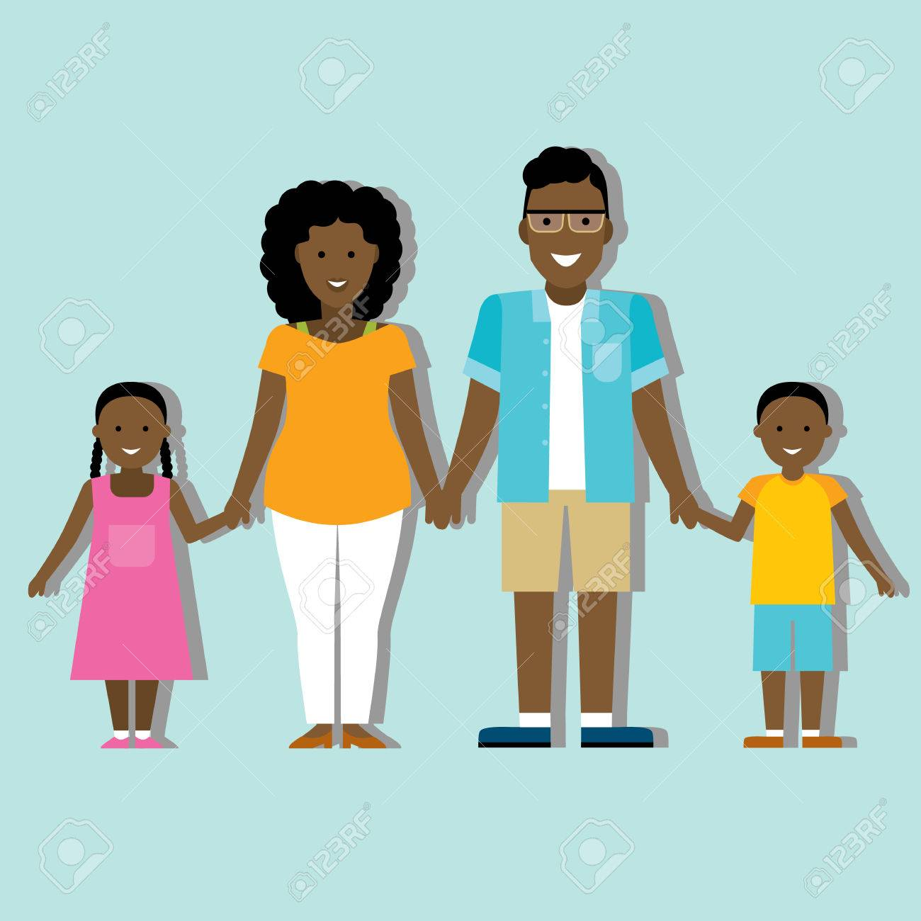 hight resolution of family colourful silhouette with african american parents and children stock vector 55589477