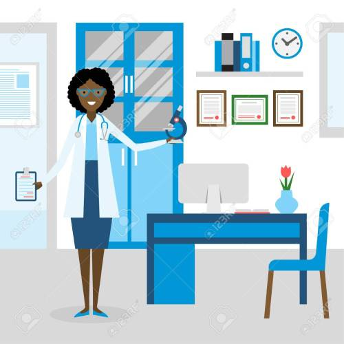 small resolution of funny smiling african american female doctor in the medical cabinet