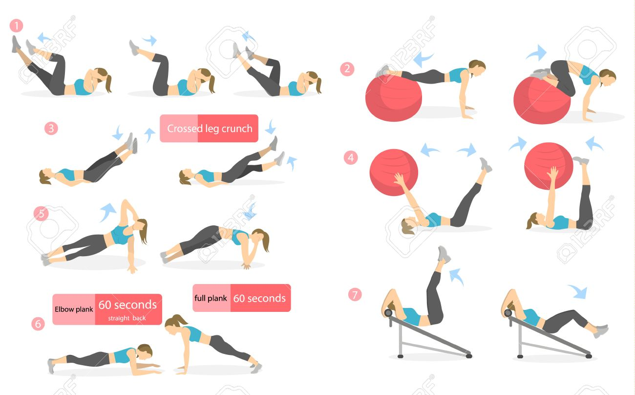hight resolution of abs workout for women woman in sport outfit doing abs exercises in gym all