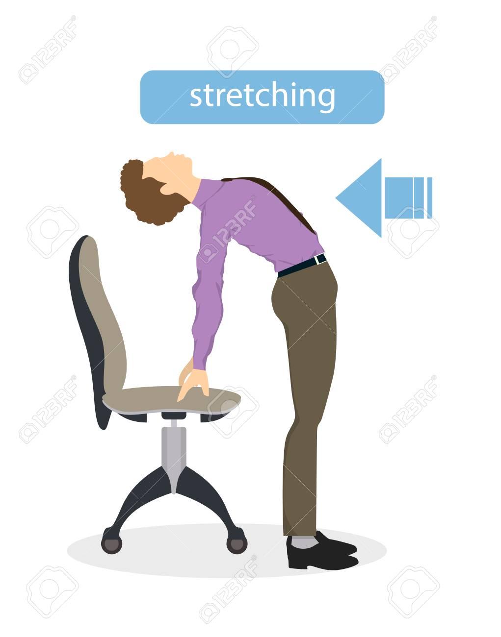 banque d images exercices de sport pour le bureau bureau de yoga pour les employes fatigues avec chaise et table etirement du dos