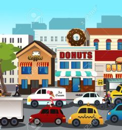 a vector illustration of busy city in the morning stock vector 33036879 [ 1300 x 866 Pixel ]