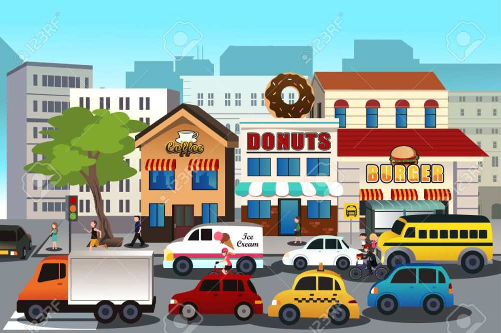 medium resolution of a vector illustration of busy city in the morning stock vector 33036879