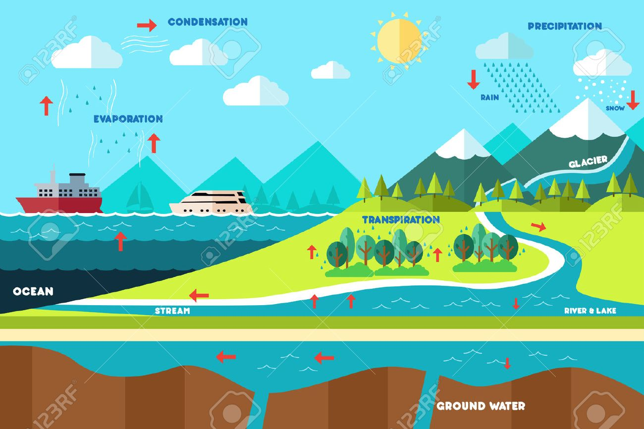 hight resolution of a vector illustration of water cycle illustration