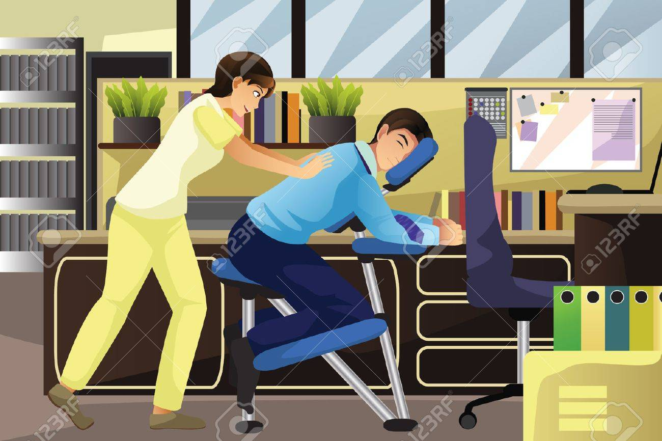Massage Therapist Chair A Illustration Of Massage Therapist Working On A Client Using