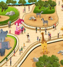 a vector illustration of scene in a zoo stock vector 39308051 [ 1300 x 866 Pixel ]