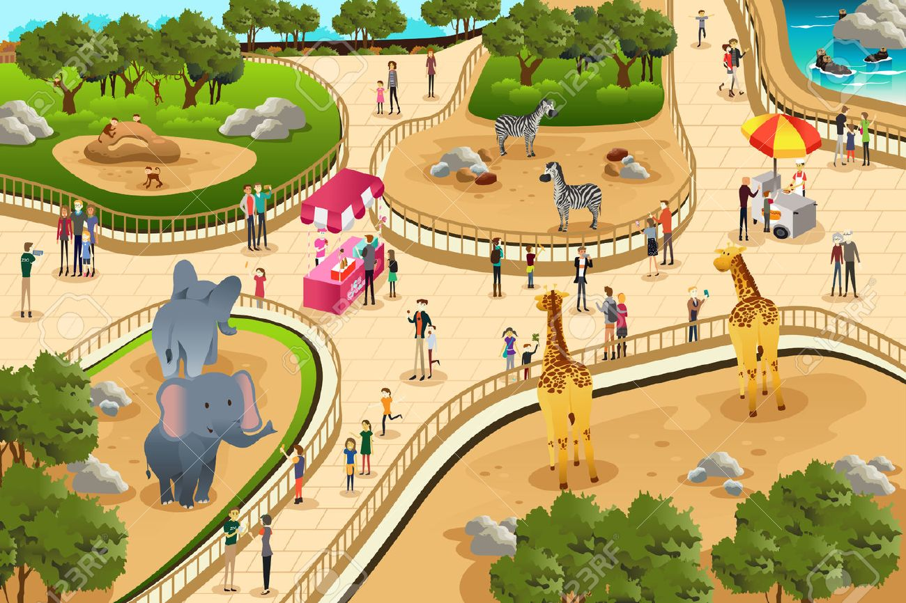 hight resolution of a vector illustration of scene in a zoo stock vector 39308051