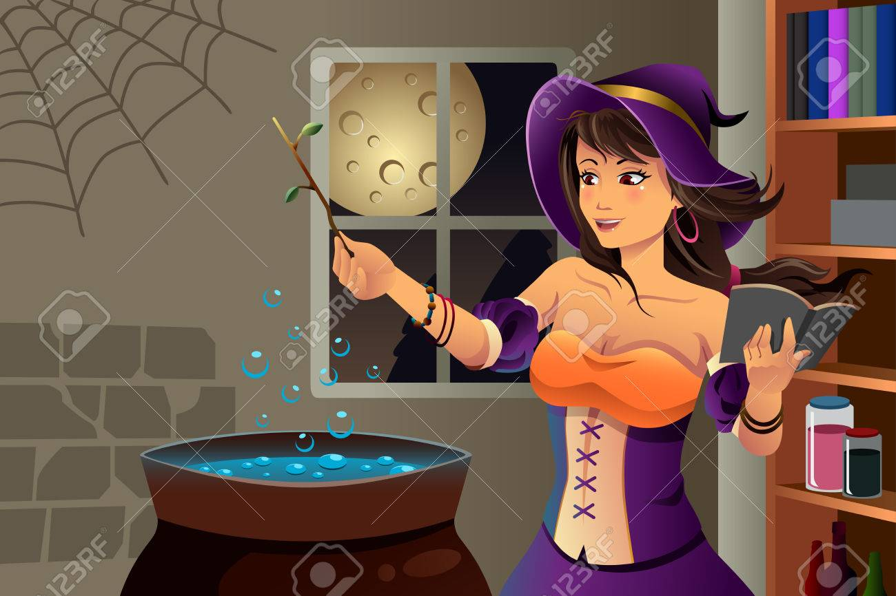 Image result for beautiful witch cooking potion with cauldron