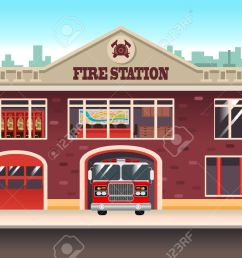 a vector illustration of fire station stock vector 69367033 [ 1300 x 866 Pixel ]