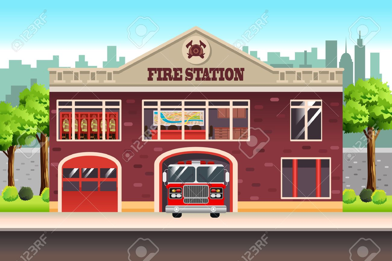 hight resolution of a vector illustration of fire station stock vector 69367033