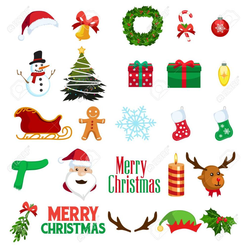 medium resolution of a vector illustration of christmas winter clipart icons stock vector 78086063