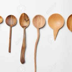 Kitchen Wooden Utensils Playsets Assorted Different Cutlery On A White Background Stock Photo 65275921