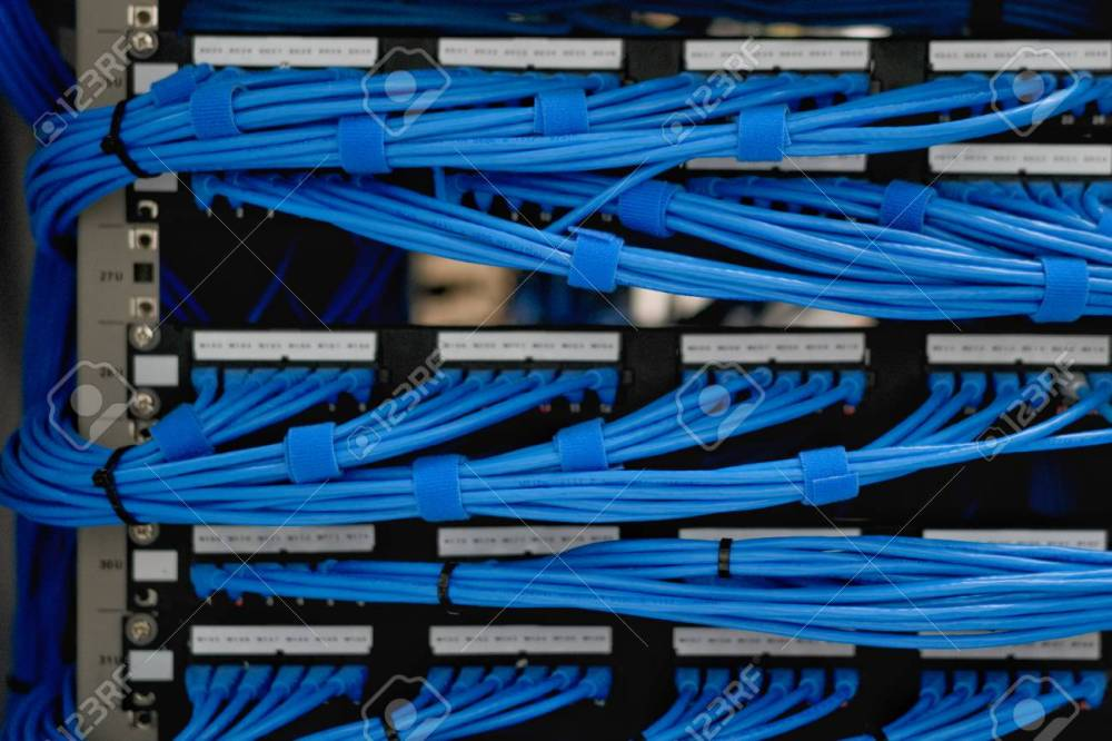 medium resolution of lan cable wiring and networking in the network or server rack server rack wiring labeling server rack wiring