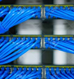 lan cable wiring and networking in the network or server rack in the data center  [ 1300 x 866 Pixel ]