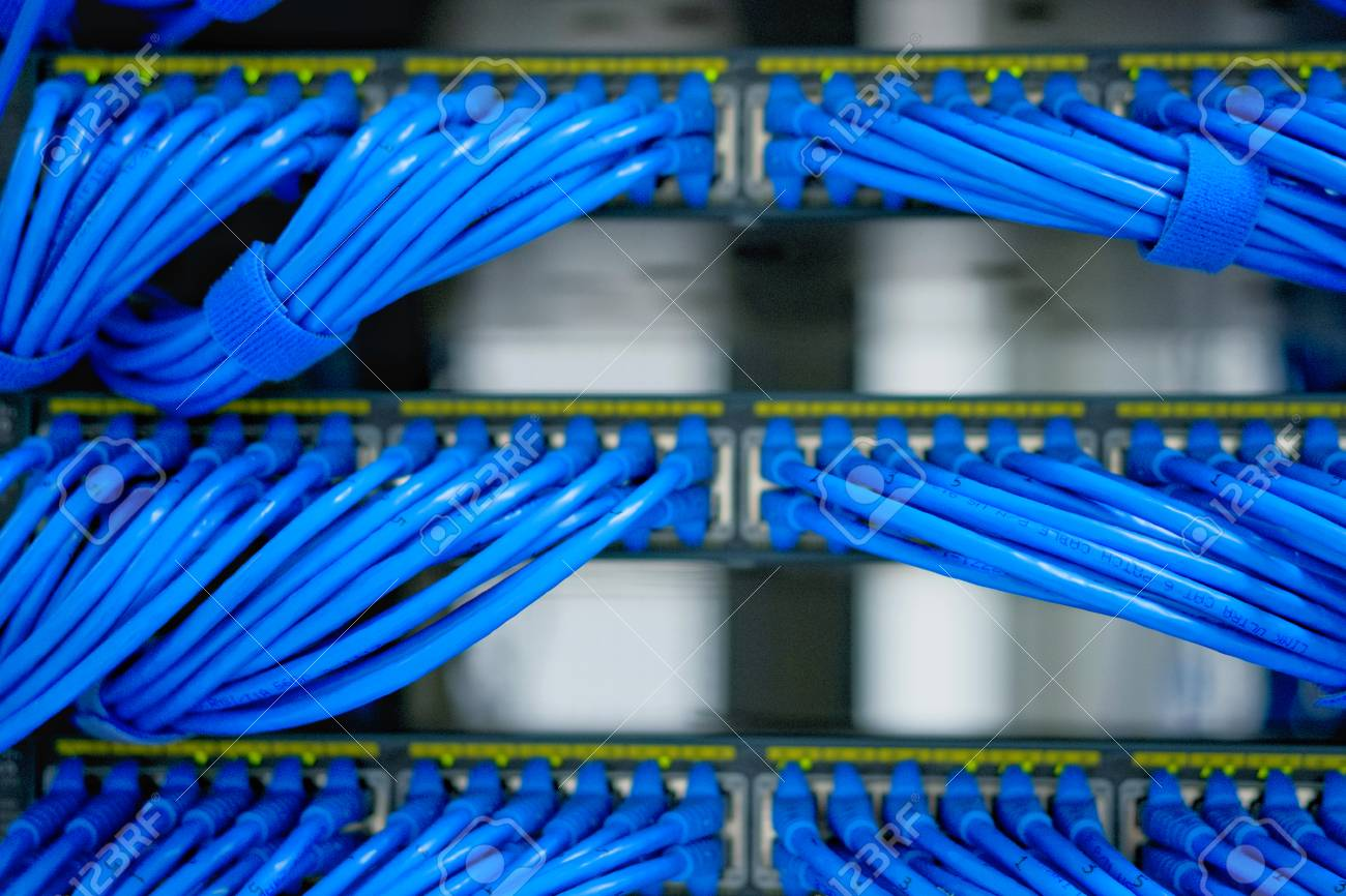 hight resolution of lan cable wiring and networking in the network or server rack in the data center