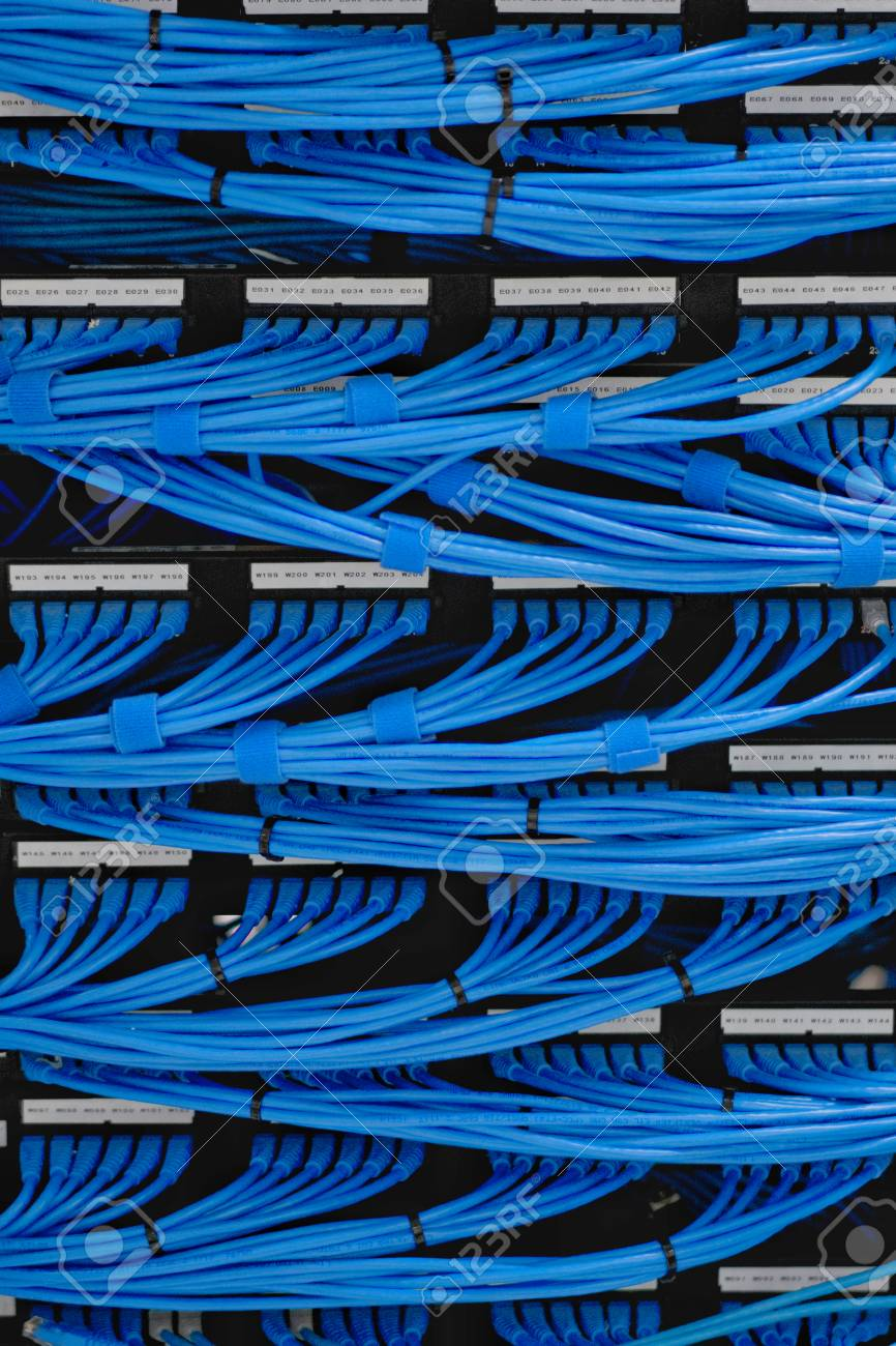 medium resolution of lan cable wiring and networking in the network or server rack in the data center