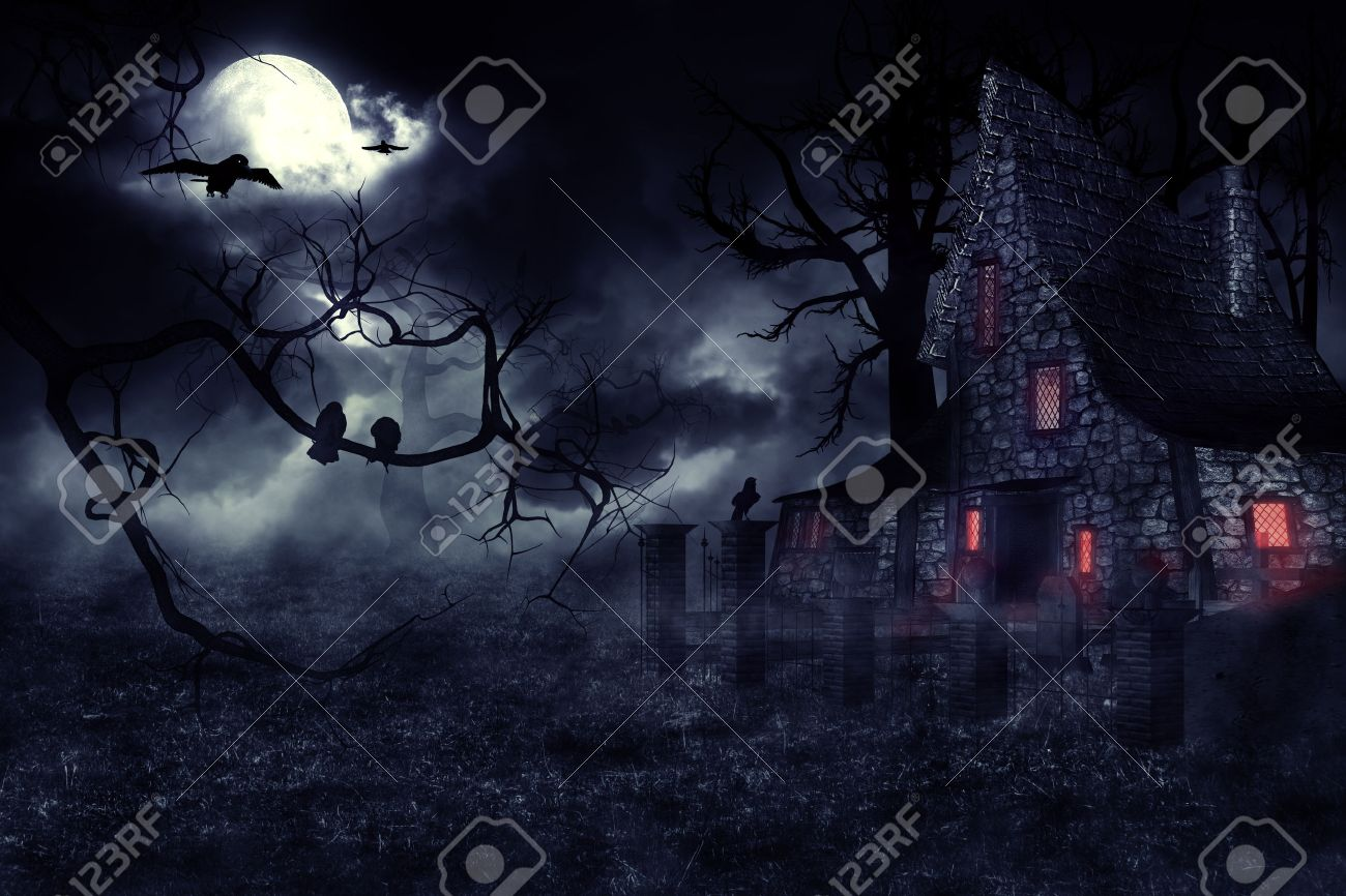 The user 'waterbaby' has submitted the dark halloween decor picture/image you're currently viewing. Dark Mysterious Halloween Landscape With An Old House Stock Photo Picture And Royalty Free Image Image 44521484