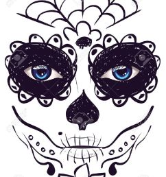 sugar skull girl face with make up for day of the dead dia de los [ 975 x 1300 Pixel ]