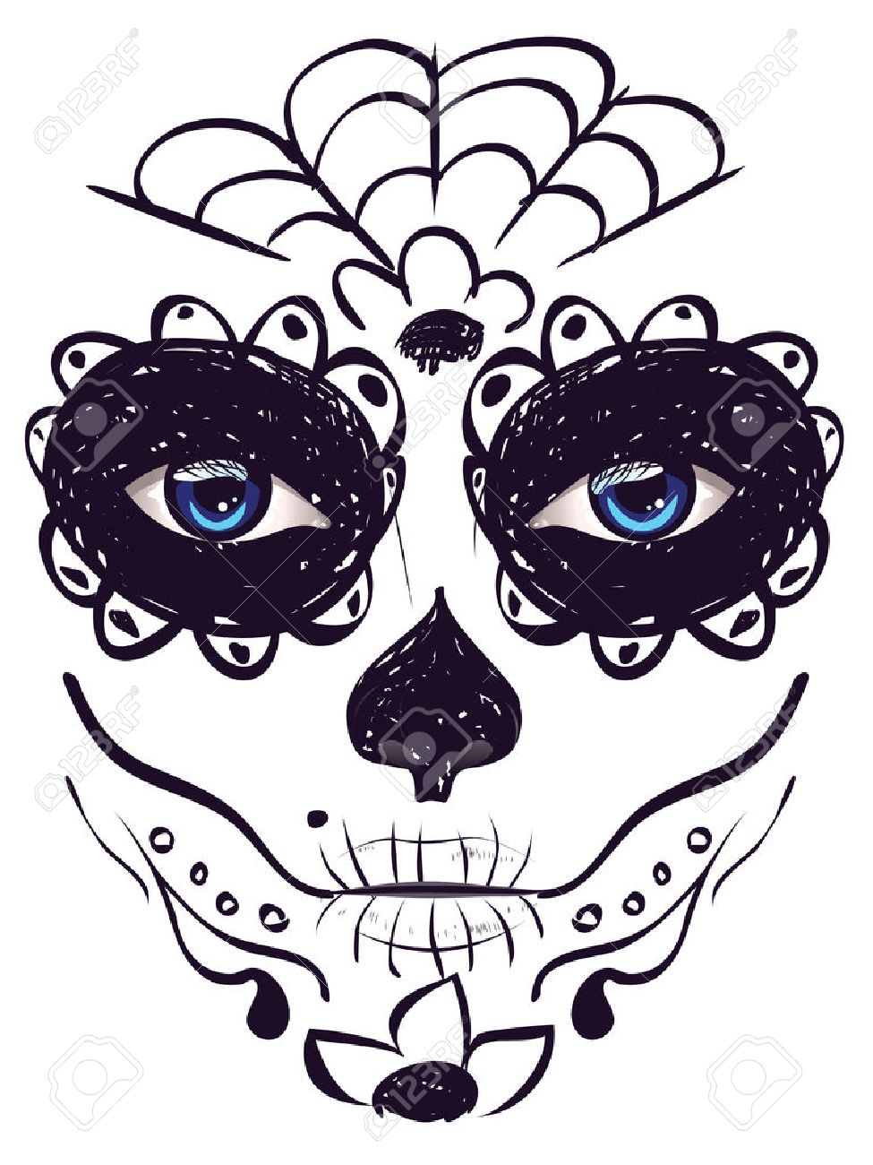 medium resolution of sugar skull girl face with make up for day of the dead dia de los
