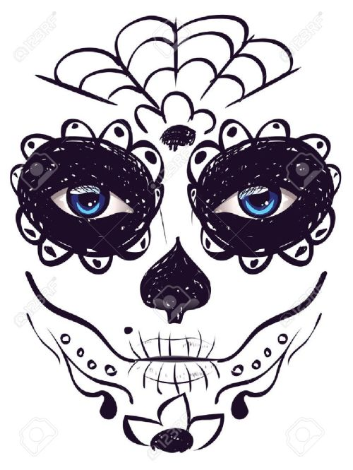 small resolution of sugar skull girl face with make up for day of the dead dia de los