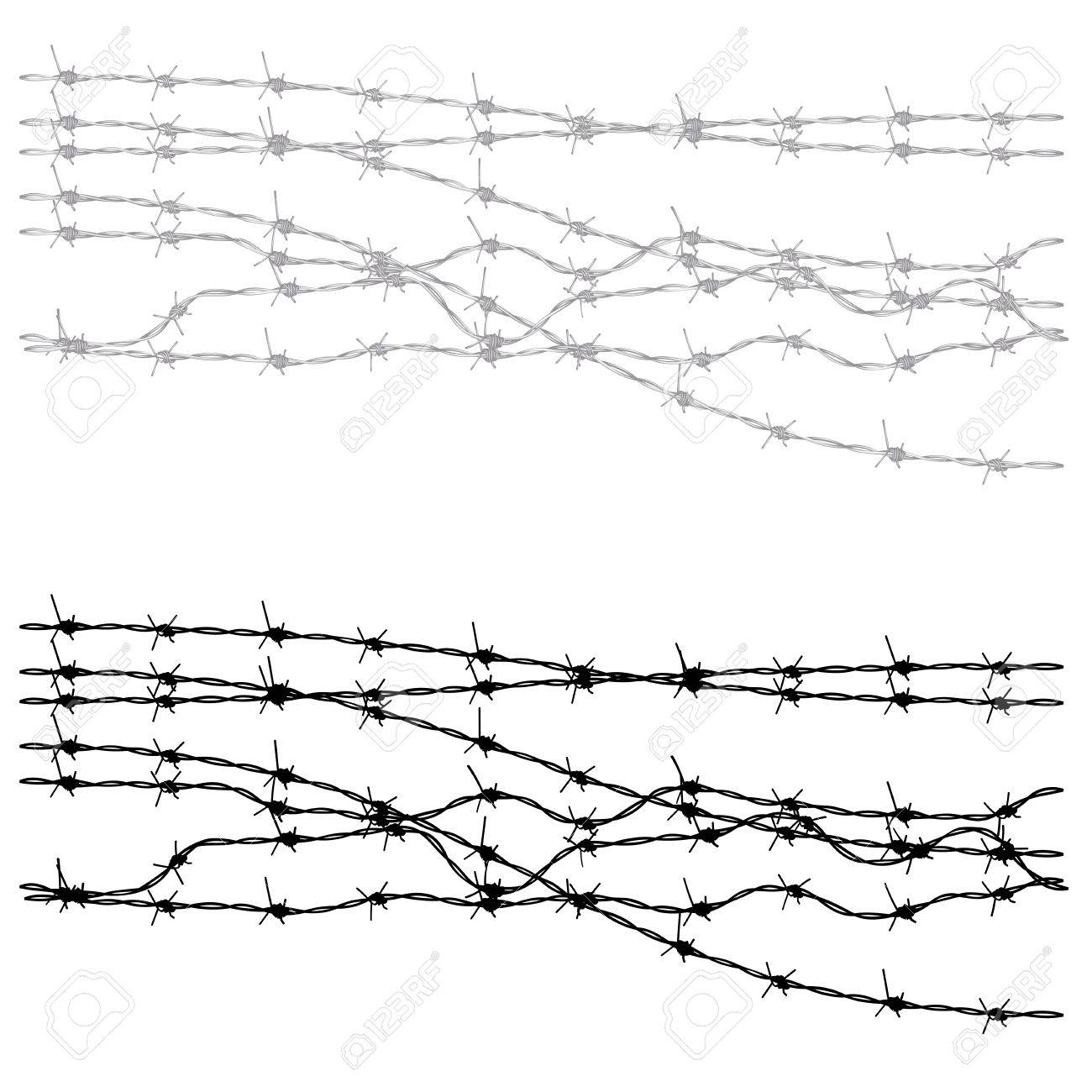 Metal barbed wire illustration on white background royalty free