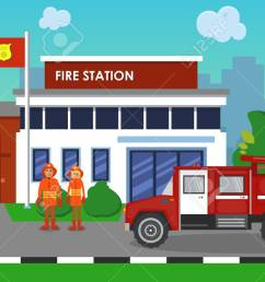 the composition of fire truck and station vector [ 1300 x 712 Pixel ]